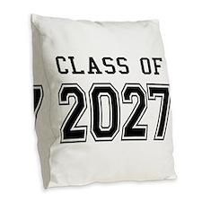 Class of 2027 Burlap Throw Pillow