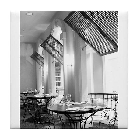 Parisian Cafe Tile Coaster b/w