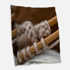 Knitting Needles Burlap Throw Pillow