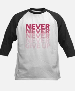 Never Give Up Pink Dark Baseball Jersey