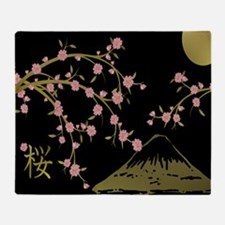 Pink Sakura Gold Black Throw Blanket