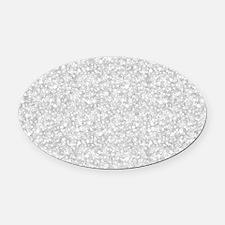 Silver Gray Glitter Sparkles Oval Car Magnet