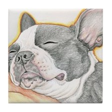 Sleepy Boston Terrier Tile Coaster