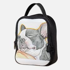 Sleepy Boston Terrier Neoprene Lunch Bag