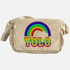 YOLO with Rainbow and Cloud Messenger Bag