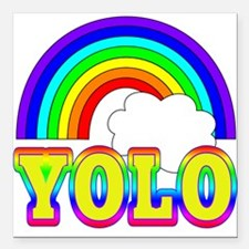 """YOLO with Rainbow and Cl Square Car Magnet 3"""" x 3"""""""