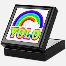 YOLO with Rainbow and Cloud Keepsake Box