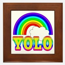 YOLO with Rainbow and Cloud Framed Tile