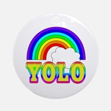 YOLO with Rainbow and Cloud Ornament (Round)