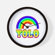 YOLO with Rainbow and Cloud Wall Clock