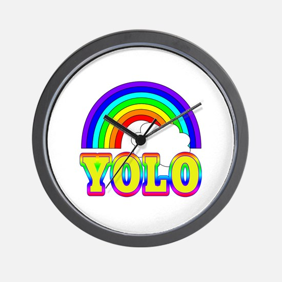 YOLO with Rainbow and Cloud Wall Clock
