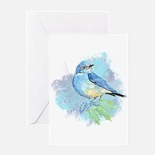 Watercolor Bluebird Pretty Blue Garden Bird Art Gr