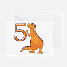Kids Dino 5th Birthday Invitation Card