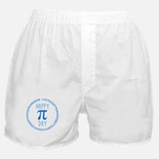 Happy Pi Day in Blue Boxer Shorts