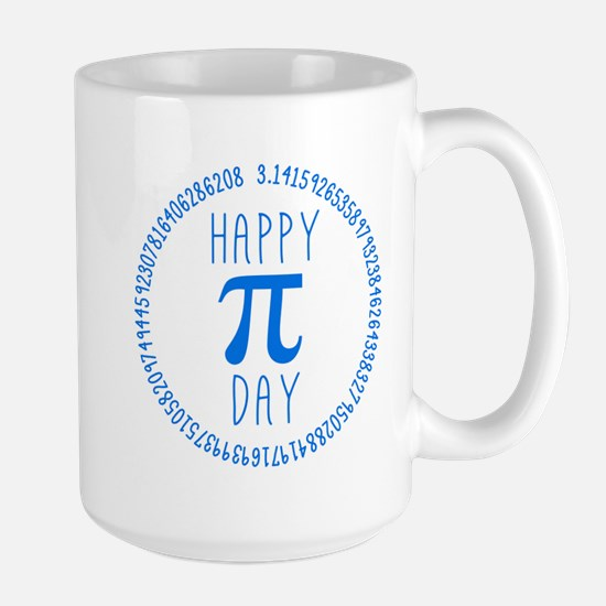 Happy Pi Day In Blue Large Mug Mugs