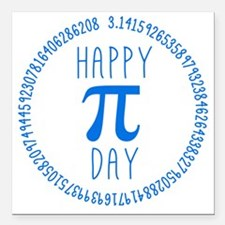 "Happy Pi Day in Blue Square Car Magnet 3"" x 3"""