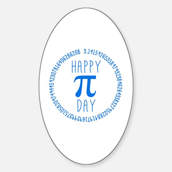 Happy Pi Day in Blue Sticker (Oval)