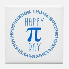 Happy Pi Day in Blue Tile Coaster