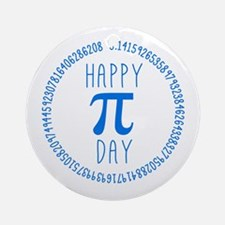 Happy Pi Day in Blue Ornament (Round)