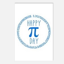 Happy Pi Day in Blue Postcards (Package of 8)