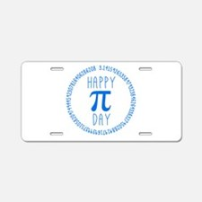 Happy Pi Day in Blue Aluminum License Plate