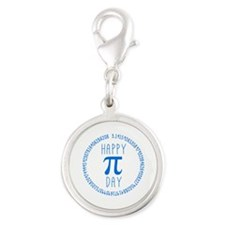 Happy Pi Day in Blue Silver Round Charm