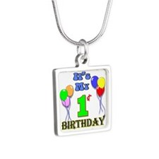 It's My 1st Birthday Silver Square Necklace