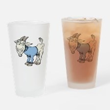 Silly Cartoon Goat in Blue Sweater Drinking Glass