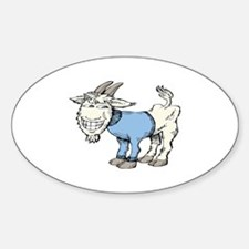 Silly Cartoon Goat in Blue Sweater Sticker (Oval)