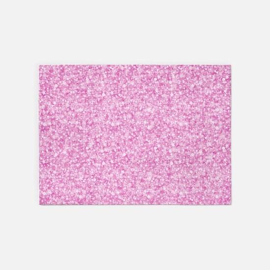 Pink Glitter & Sparkles Background 5'x7'Area Rug