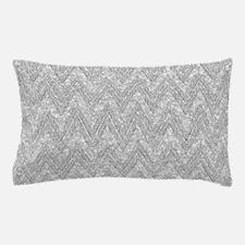 Silver Glitter & Sparkles Chevron Patt Pillow Case