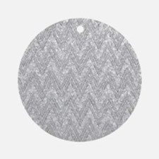 Silver Glitter & Sparkles Chevron Ornament (Round)