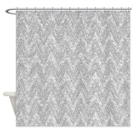 Silver glitter sparkles chevron p shower curtain by for White glitter bathroom accessories