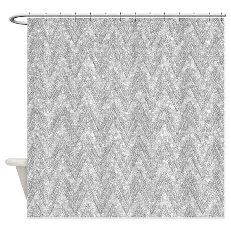 Silver Glitter U0026 Sparkles Chevron P Shower Curtain
