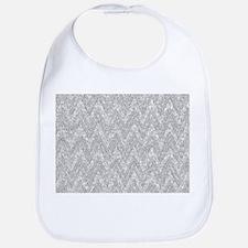 Silver Glitter & Sparkles Chevron Pattern Bib
