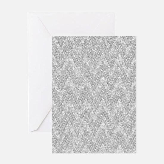 Silver Glitter & Sparkles Chevron P Greeting Cards