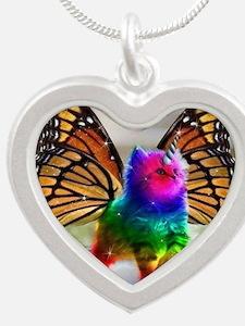 Rainbow butterfly kitten Silver Heart Necklace