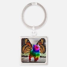 Rainbow butterfly kitten Square Keychain
