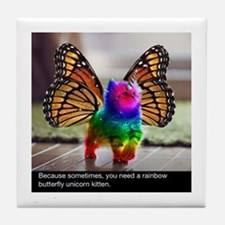 Rainbow butterfly kitten Tile Coaster