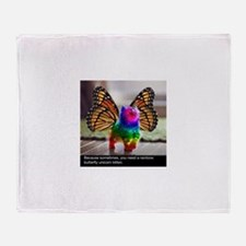 Rainbow butterfly kitten Throw Blanket