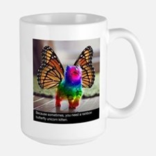 Rainbow butterfly kitten Mugs