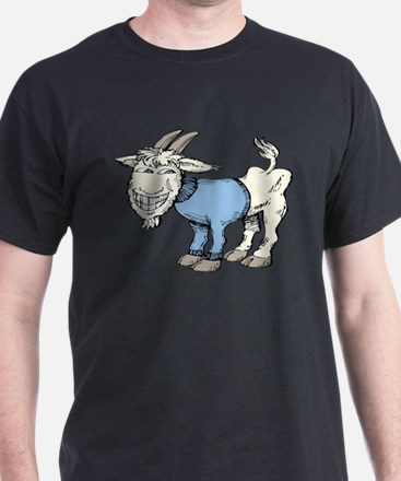 Silly Cartoon Goat in Blue Sweater T-Shirt
