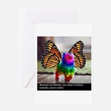 Rainbow butterfly kitten Greeting Cards