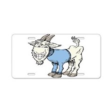 Silly Cartoon Goat in Blue Aluminum License Plate