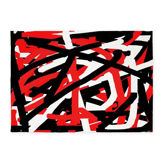 Black Red And White Graffiti Art 5x7Area Rug By Khoncepts2