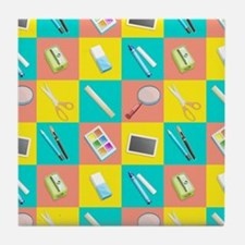 School Supply Grid Tile Coaster