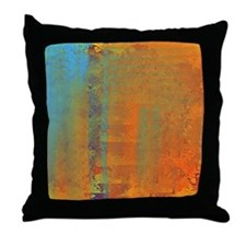 Abstract in Aqua, Copper and Gold Throw Pillow