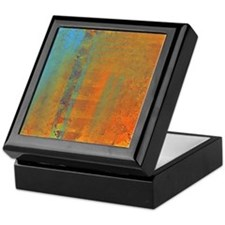 Abstract in Aqua, Copper and Gold Keepsake Box