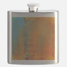 Abstract in Aqua, Copper and Gold Flask