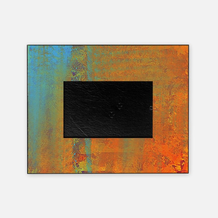 Abstract in Aqua, Copper and Gold Picture Frame